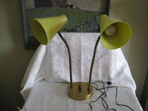 1950's Lime Green Fiberglass Gooseneck Double Table Lamp