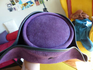 Purple suede tricorn pirate hat