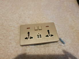 NEW Gold Double Sockets with USB