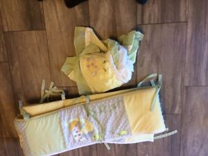Bumper pads and crib skirt