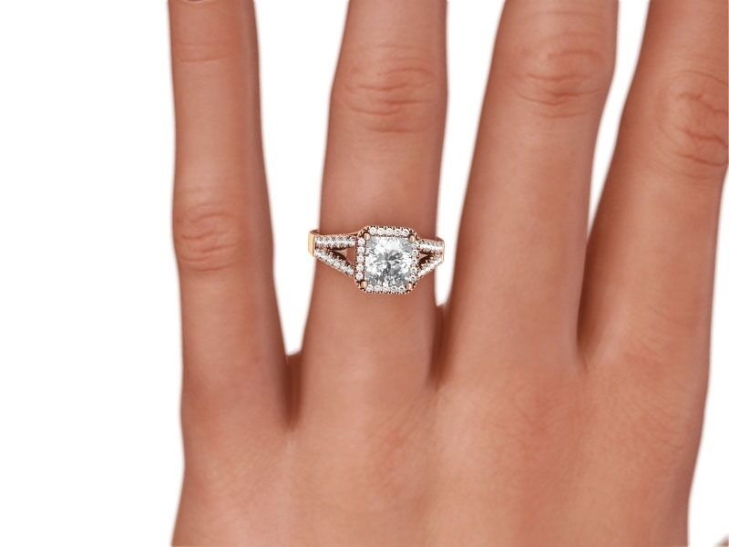 1 3/4 CT RADIANT CUT H/VVS2  ENHANCED DIAMOND ENGAGEMENT RING 14K ROSE GOLD