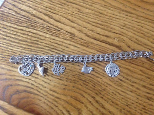 Sterling Silver Charm Bracelet With 5 Charms.  Never Worn