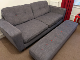 For sale 4 seater Dfs sofa with matching footstool and Love seat