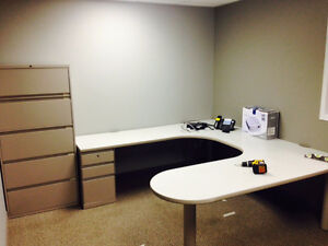 U desk and 5 drawer filing cabinet combo $700