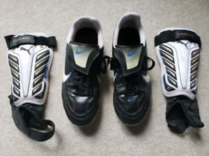 Nike US size #3 leather zoocer shoes and Vencida shin guards