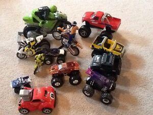 Cars and trucks and bike
