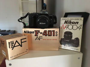 Nikon F-401s 35mm SLR Film Camera -- with Lens Box and Manual!