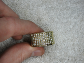 Large 9Ct Gold plated ring with CZ Stones