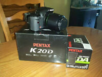 Pentax K20d DSLR, 5 batteries & 50-200 lens