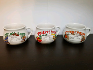 Set of 3 Vintage Soup Recipe Mugs/Bowls/Cups with Handle