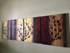 Four-Canvas Acrylic Painting, Signed by Artist Iwona Handley