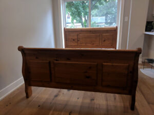 Hand-crafted, antique queen sleigh bed