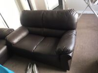 3+2 seater brown leather sofas *Excellent condition only 5 months old