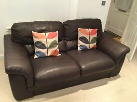 Two three seater leather brown sofas - Newquay