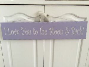 "Purple ""I Love You to the Moon & Back!"" plaque Kitchener / Waterloo Kitchener Area image 1"
