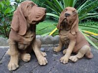 2 Realistic Matching Blood Hound Dog Stone Antique Style Garden Statues
