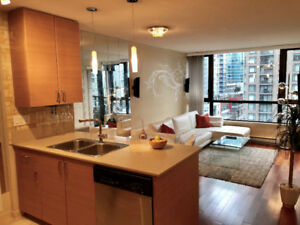Yaletown Luxury Furnished 1 Bed, Den, Balcony, Parking, Storage