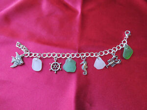 Nautical Bracelet with Sea Glass and Charms