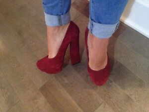 Red suede shoes size 7.5