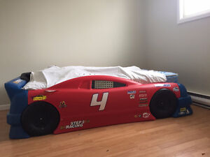 Race car bed with mattress