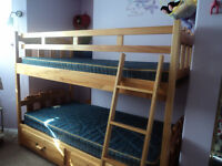 Wood bunk bed with matresses