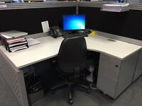 Office desks, drawers and partitions x 20