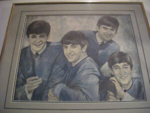 Pencil Sketch of the Fab Four Signed and framed One of a Kind