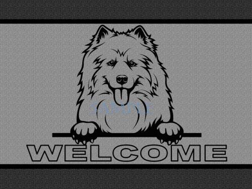 Samoyed Dog Breed Peeking Over Welcome Home Doormat Door Mat Floor Rug