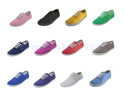 Classic Womens Canvas Lace Up Casual Sneakers Tennis Flats Ladies Plimsoll Shoes