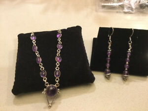 New, 925 Silver Amethyst Necklace and Earrings Set