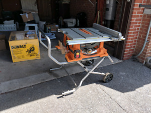 Ridged Table Saw 10 inch 15 amp heavy duty with rolling stand.