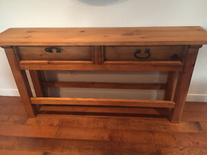 Rustic solid wood sofa/console table