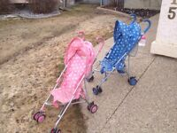 Pink and Blue Umbrella Strollers - Twins?