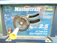 """10""""  Mastercraft 2.5HP Table saw COMPLETE  Moving Must Sell"""