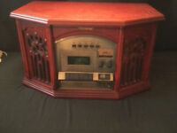 Antique Style Phonograph with CD & Cassette Player