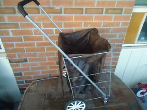 LARGE FOLDING METAL 4 WHEEL GROCERY CART
