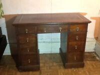 Antique small Oak kneehole desk