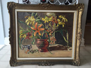 Original Oil Painting of Lilies in Copper Vase
