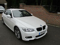 2010 (60) BMW 320D M SPORT AUTO COUPE + WHITE & BLACK LEATHER