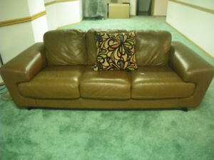 Caramel Brown Leather Sofa and Accent Chair