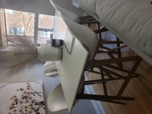 IKEA POANG DINNING TABLE AND CHAIRS BAR HEIGHT