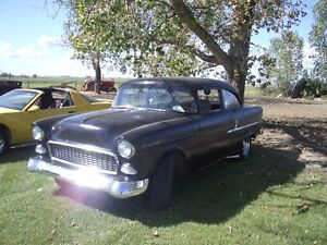 1955  BB  chevy 2 door post complete or   maybe rolling chassis