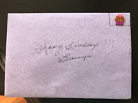 Purple envelope with birthday card from Nanny Currie