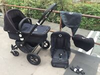 Bugaboo Cameleon 2nd generation black chassis and limited edition denim travel system