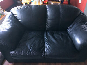 Black leather love seat and chair