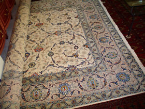 RUG (CARPET) KASHAN - HAND KNOTTED - ALL WOOL - BLUE
