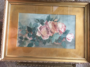 """OLD Painting """"Yard of roses"""""""