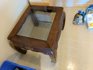 Wood + glass end table