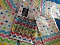 Rainbow spots and chevron large plastic tablecloth