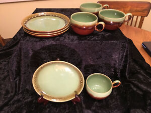 4 Vintage Denby and plate sets - Brown Green Homestead Stoneware